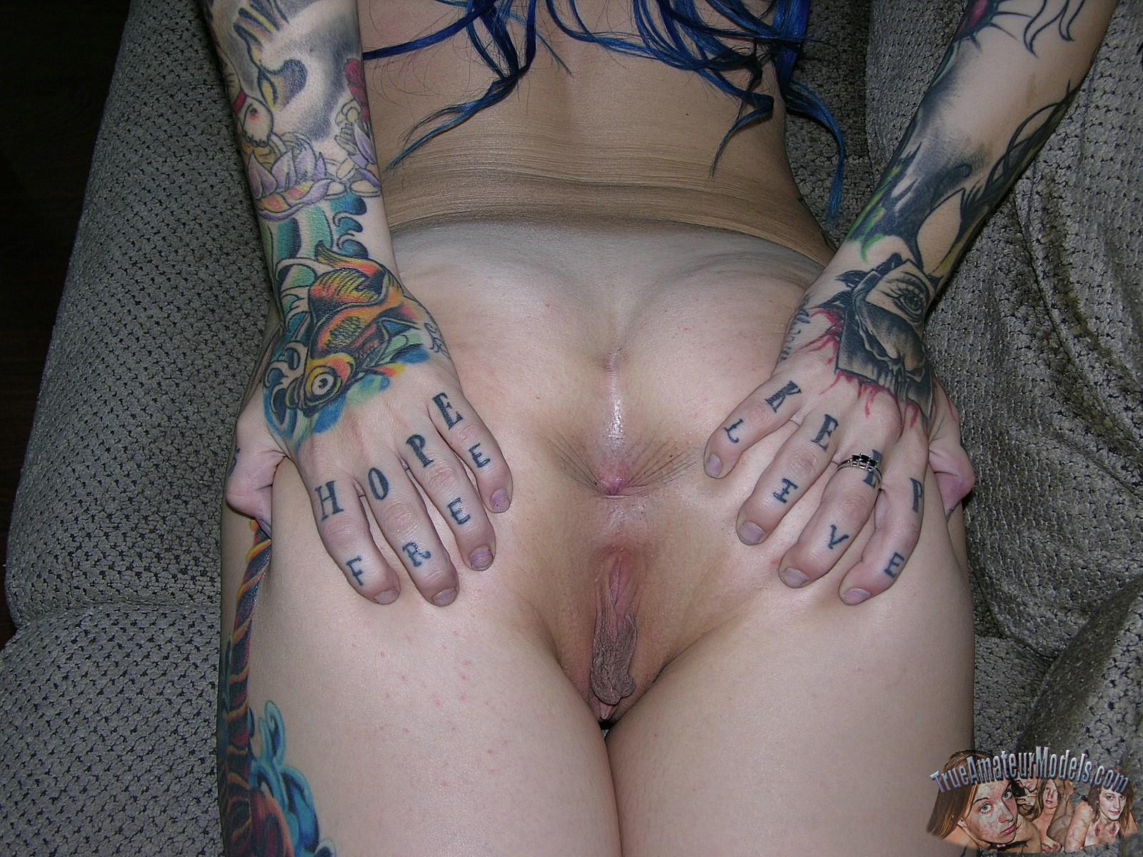 Spread eagle nude tatoo girls