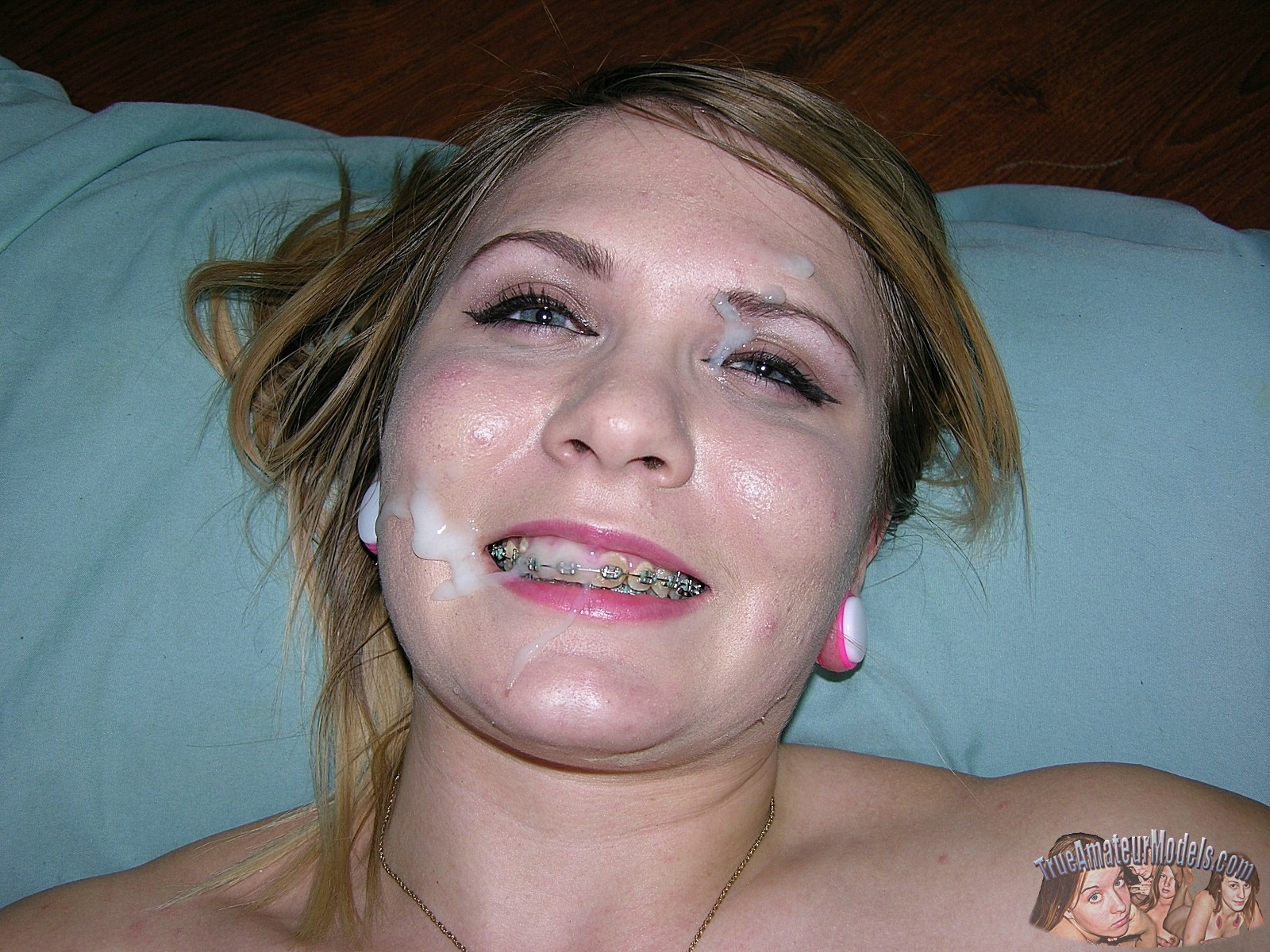 Blonde with braces cum facial